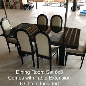 Black Dining room with chairs