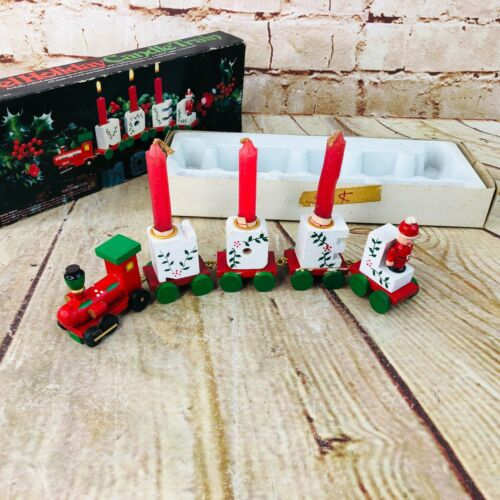 Vtg Christmas Wooden Train NOEL Candle Holder Set 8 Pieces new In Box