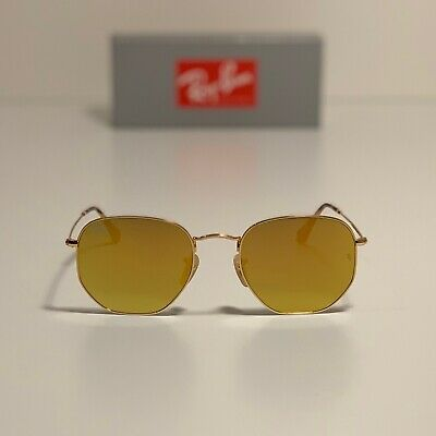 New Ray-Ban Hexagonal Flat Lenses Gold RB3548N 001/93 54-21 LARGE Yellow (Ray Ban Yellow Lenses)