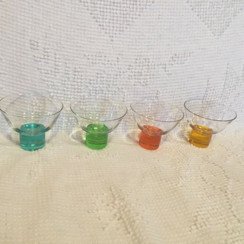 PIER 1 IMPORTS GLASS DESSERT CUPS / BOWLS CLEAR WITH COLORFUL STEMS SET OF 4