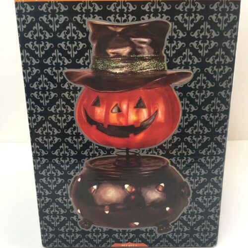 "Fiberglass Pumpkin Bobblehead LED Lamp Pumpkin Cauldron Black Hat 12.6"" NEW"