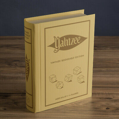 YAHTZEE Vintage Bookshelf Edition Deluxe Collectible Linen Book Board Game New  Vintage Book Game