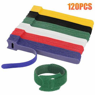 120pcs Reusable Cable Cord Ties Nylon Straps Organizer Wraps 6 Colors 6''x0.47''