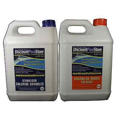 Shock & Stabilised Chlorine Granules Pool Spa Tub 2x5kg