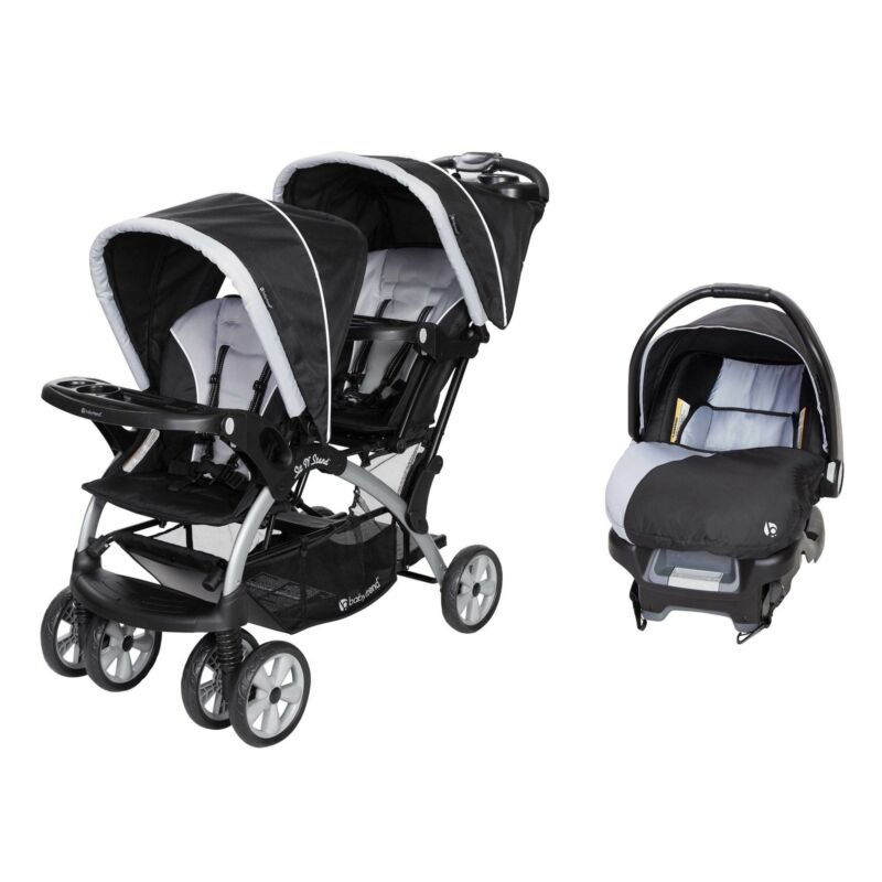 Baby Trend Sit N Stand Travel Double Baby Stroller and Car Seat Combo, Stormy
