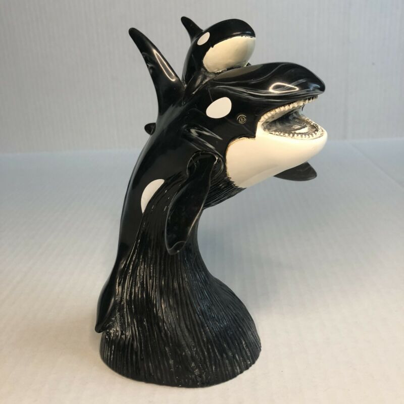 Cultured Black Onyx Orca Whale Sculpture Cook Company 8 Inches Tall
