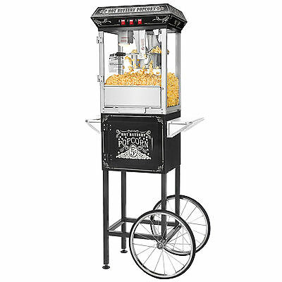 الة صنع الفشار جديد Great Northern Black Good Time 8oz Full Popcorn Popper Machine w/ Cart, 8 Ounce