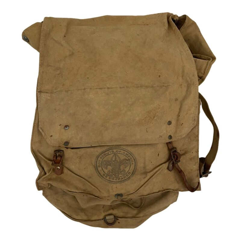 Vintage Boy Scouts of America Yucca Backpack Ruck Sack Canvas Bag Pouch BSA