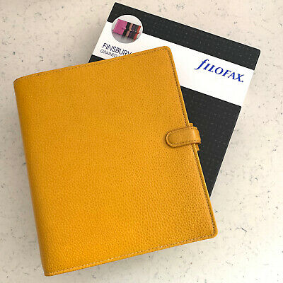 Filofax A5 Finsbury Leather Organizer Planner New Mustard Yellow