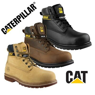 CAT Caterpillar HOLTON SB Safety Steel Toe Work Boots Black Brown Honey |6-15| Caterpillar Black Steel Toe Boots