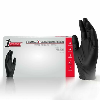 1000/cs 1st Choice Black Nitrile Latex Free 6 Mil Mechanic Disposable Gloves - Black Gloves
