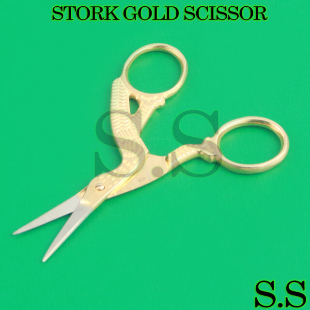 Stork Gold Scissor for Embroidery Manicure Nail Art Craft & Sewing ...