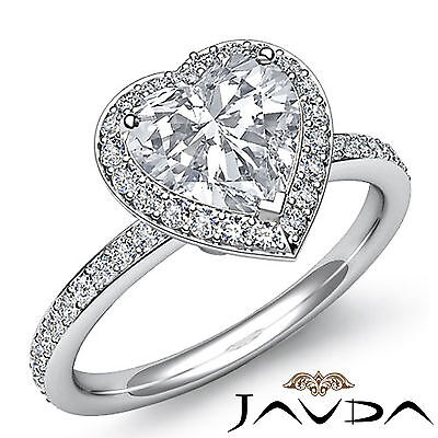 Halo Micro Pave Women's Heart Diamond Engagement Ring GIA Certified H VS2 2 Ct 1