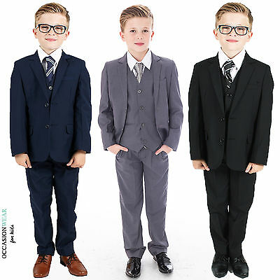 Boys Suits, Boys Wedding Suits, Page Boy Suits, Grey Navy Black (0-3 to 14 Yrs) - Black Boys Suits