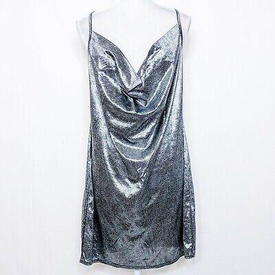 New Boohoo Plus Size US 16 Dress Metallic Silver Cowl Neck Sleeveless Party
