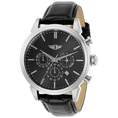 Invicta Men's Watch I By Invicta Silver Tone Case Black Dial Leather Strap 29866