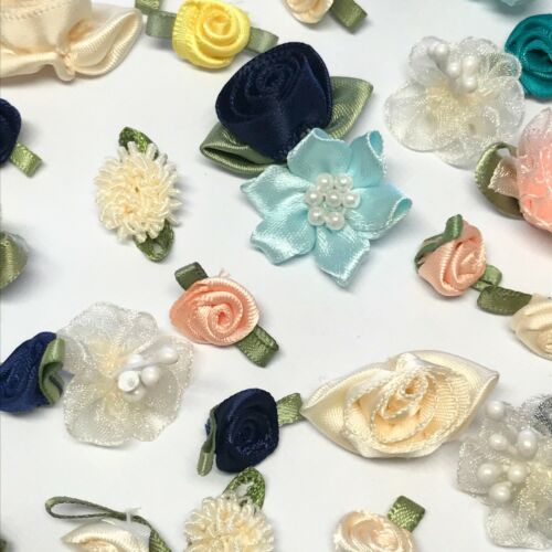 30 Small Flowers Rose Craft Cardmaking Embellishments Material Sewing Satin