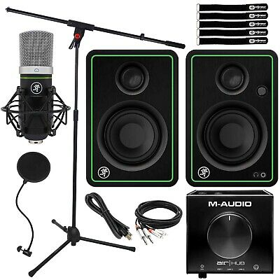 Home Podcast Live Stream Vocal Recording Pack Mackie Speakers & Mic Boom Stand