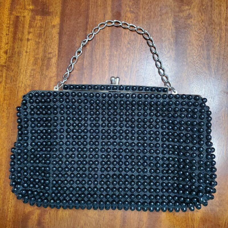 Vintage Grandee Bead Purse Bag with Kiss Lock Black 1940