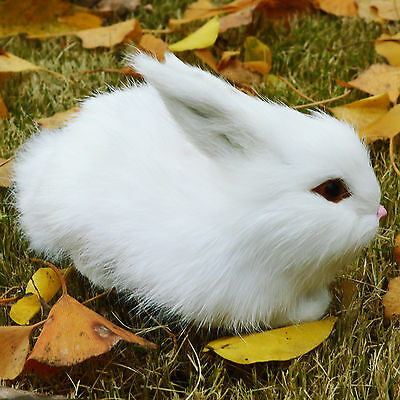 Mini Realistic Cute White Rabbit Handicraft Home Docor Fur Bunny Furry Animal