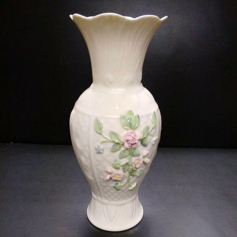 "Belleek Ireland Bloomfield Vase 11"" 140th Anniversary 1857-1997"
