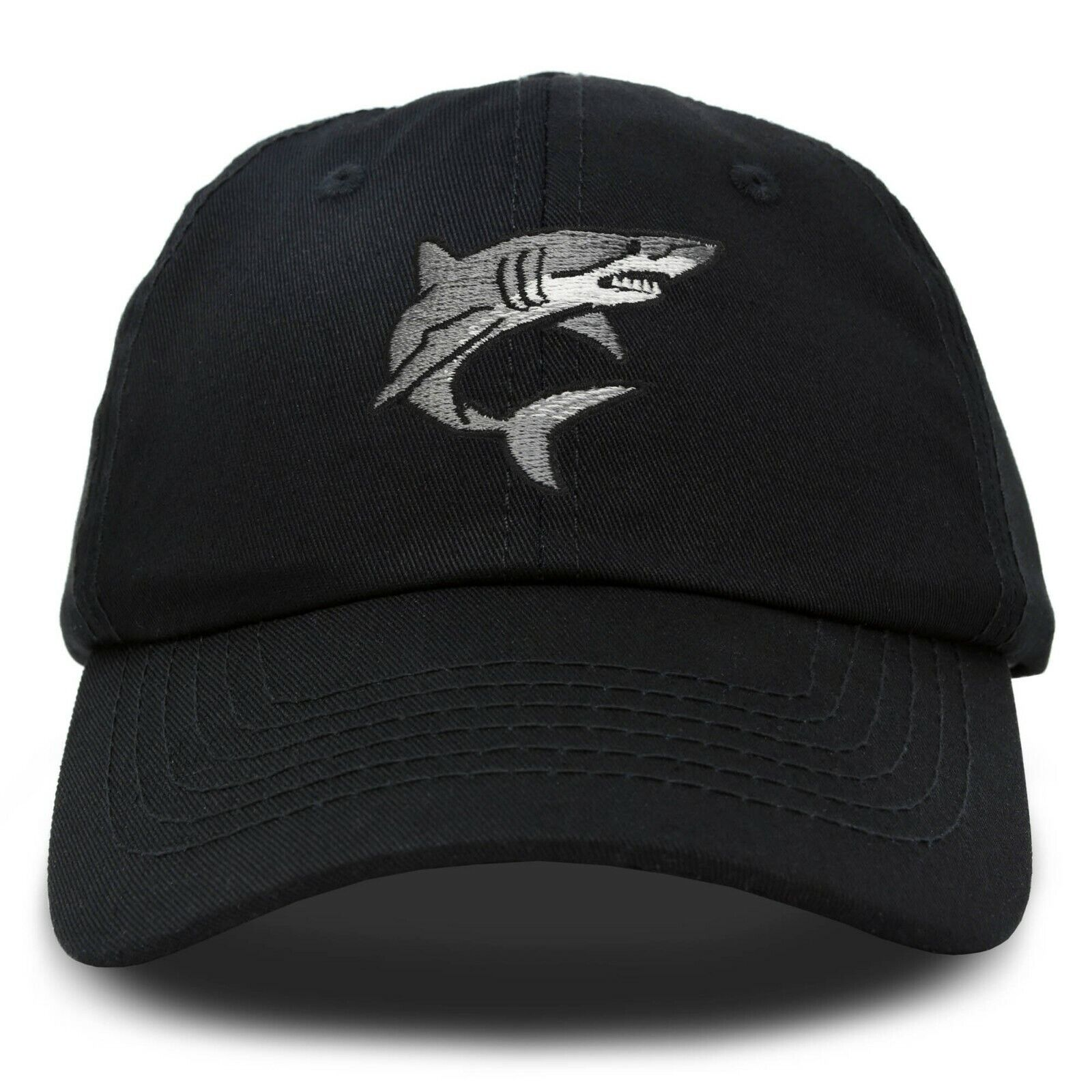 DALIX Shark Hat Embroidered Baseball Cap Great White