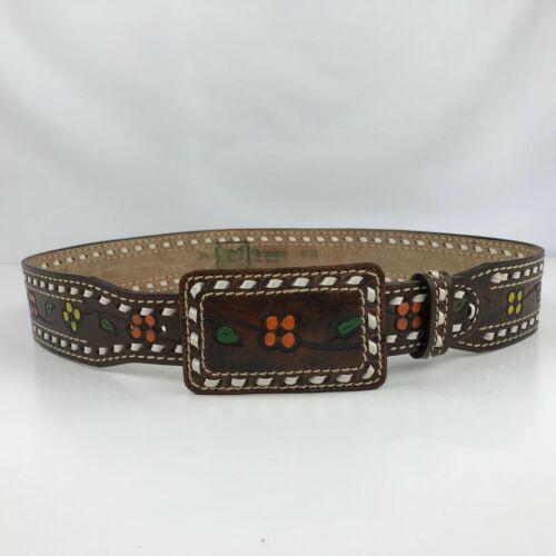 Vintage 70s Sheyenne Tooled Leather Western Belt Brown w/ Painted Flowers Sz 34