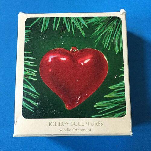 """Hallmark """"Heart"""" Holiday Sculptures Acrylic Ornament 1983"""
