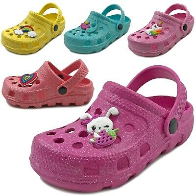 New Baby Toddler Girls Clog Sandals Cute Soft Rubber Slipper Shoes Size 5 to 10