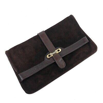 Vintage Chocolate Brown Clutch Envelope Suede Leather Snap On Bag Unbranded