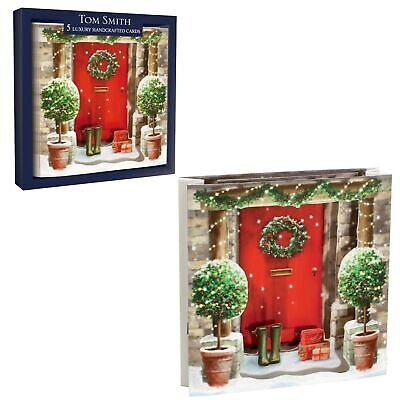 Tom Smith Luxury Handcrafted Pack of 5 Boxed Christmas Cards- Festive Front Door ()