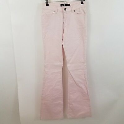 Zara basic jeans womens pink light stretch 4 flare pants solid Pastel Denim