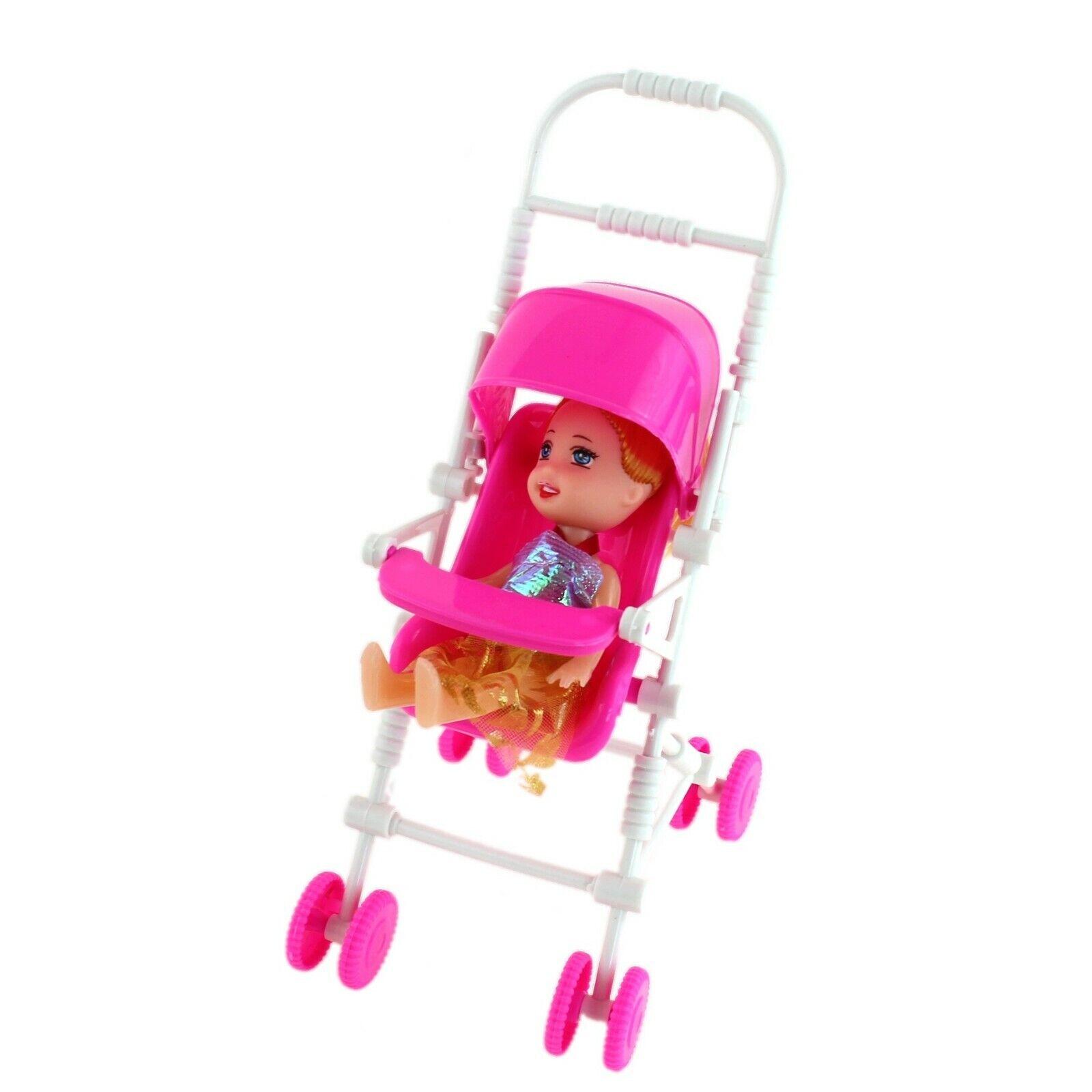 Pink Dolls Pushchair Stroller Toy Doll Pram Buggy Baby Gift