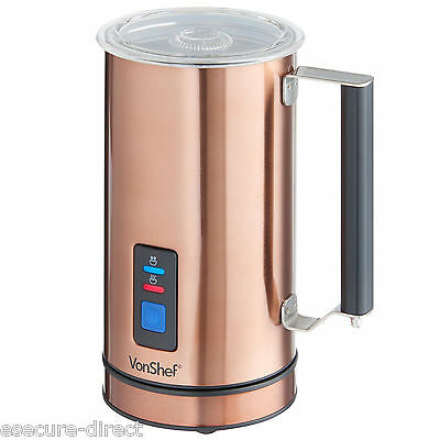 VonShef Copper Finish Dual Function Electric Milk Frother And Warmer Foamer