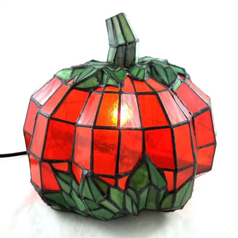 Stained Glass Tiffany Style Pumpkin Light Large Accent Lamp Halloween Fall Decor