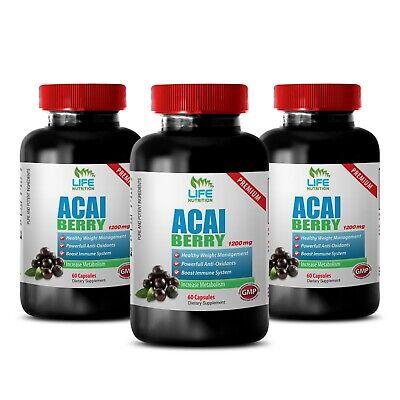 - Antioxidant Power Caps - Acai Fruit 4:1 Extract 1200mg - Acai Berry Cleanse 3B