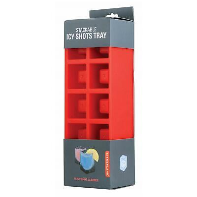Kikkerland Stackable Ice Cube Shot Tray Glasses Icy Square Shooter Party Gadget (Party Ice Tray)
