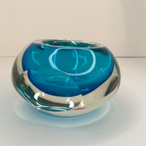 """Fifth Avenue Crystal Aura 3"""" Square Votive Handcrafted Art Glass Candle Holder"""