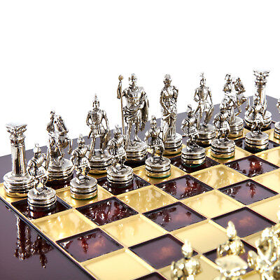 Manopoulos Greek Roman Army Chess Set - Brass&Nickel - Red chess Board (Red Brass Chess Board)