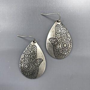 Silver Finished Hamsa Hand Design Engraved Teardrop Shape Drop Dangle Earrings
