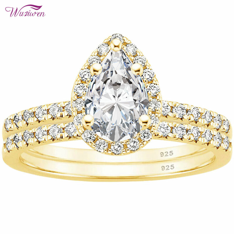 Wuziwen 3ct Pear Wedding Ring Set Yellow Gold Halo Aaaaa Cz 925 Sterling Silver