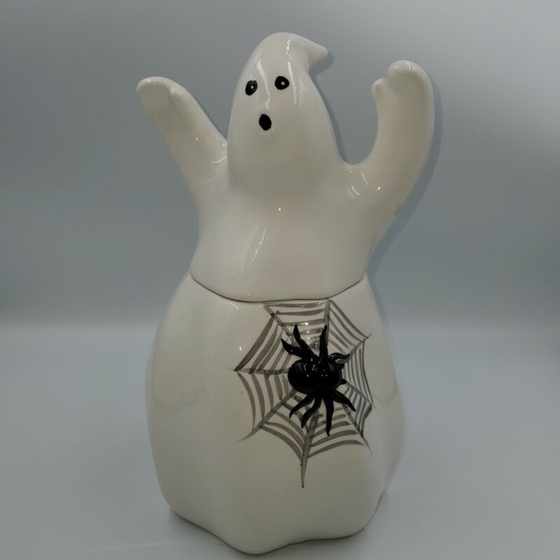 Halloween Ghost Cookie Jar With Spider Designed By Maxcera