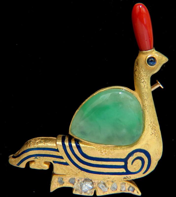 22KT ANCIENT EGYPTIAN REVIVAL JADE CORAL DIAMOND SWAN HIEROGLYPHICS BROOCH PIN+
