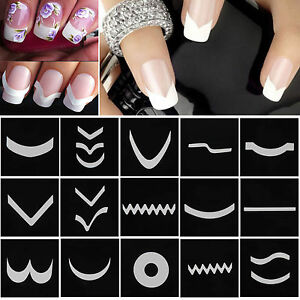 15-Sheets-Set-French-Manicure-DIY-Nail-Art-Tips-Guides-Stickers-Stencil-Strips