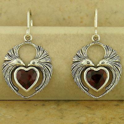 GENUINE GARNET HEART-SHAPED LOVEBIRD EARRINGS 925 SILVER ANTIQUE STYLE,    #949