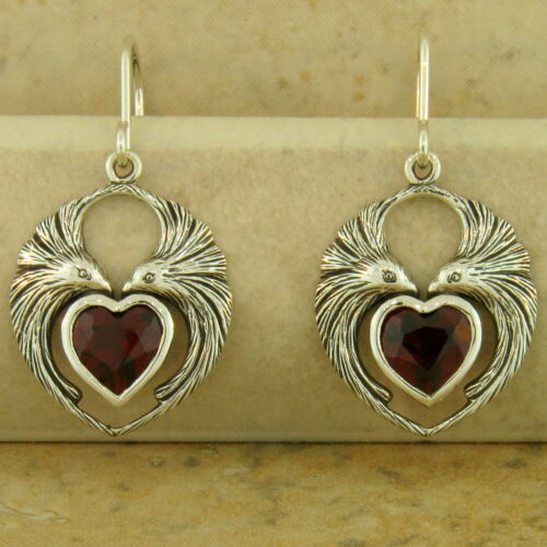 GENUINE GARNET HEART-SHAPED LOVEBIRD EARRINGS 925 SILVER ANTIQUE STYLE,    #949
