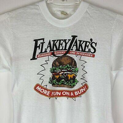80s Tops, Shirts, T-shirts, Blouse   90s T-shirts Vintage 1980s Flakey Jakes Hamburgers Small T Shirt Fast Food Made In USA Tee $52.69 AT vintagedancer.com