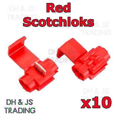 10 x Red Scotchlock Wire Connectors Scotchlocks Splice Terminal Crimp Scotchlok