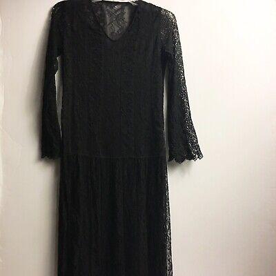 Black Lace Dress Women Long Sleeve V-neck Underlay Halloween