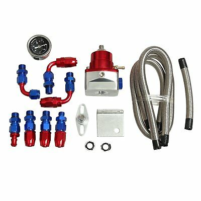 Universal Adjustable Fuel Pressure Regulator KIT + 100psi Guage AN 6 Fitting Red